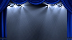 Blue image of a stage curtain, curtain lights
