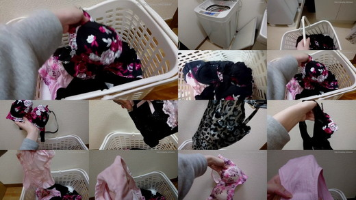 * Reading notes, problem and rare * home housing her mealtime panty (shimpan) and underwear in the laundry basket.