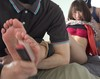 (2) show the soles of the feet with muremuregomi me Gaby's leave-> raw soles pantyhose tickling hell