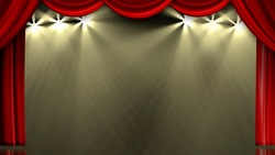 And Red image of the stage curtain, curtain lights